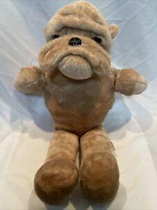 "Vintage Rushton Company He-Man Bulldog 26"" Plush Brown Dog Stuffed Animal Mascot"