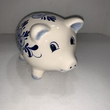"""Vintage DALC Delft Blue Hand-Painted Windmill & Floral Design Piggy Bank 3"""" Tall"""