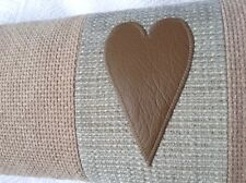 """LUXURY SHABBY CHIC CUSHION Real Leather Heart 21"""" X 10"""" Feather Inner Pad *NEW**"""