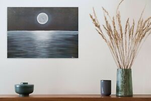 Moonlit Ocean Original Painting Paul Gorman Canvas Art 50 x 70 Calm Relaxing
