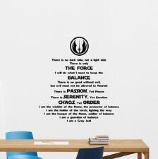 Star Wars Wall Decal Gray Jedi Code Vinyl Sticker Movie Poster Quote Art 261hor