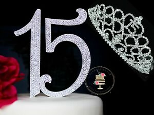 NEW Large Diamante Quinceañera Number 15 Birthday  Cake Topper quality Tiara New
