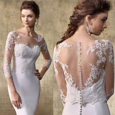 White Wedding Jackets Bridal Bolero Lace Applique 3/4 Sleeve Button Back Wraps
