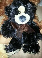 Bears stuffed animals, Soft  Plush Black bear w/Brown tie 7in. All Occcasion