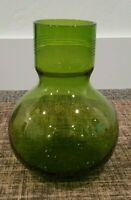 """EASTERN GLASS VTG Mid century Modern Green vase  8"""" with etched rim"""
