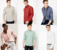 Marks & Spencer M&S Mens Long Sleeve Cotton Linen Casual Shirt Top S M L XL 2XL