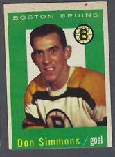 1959-60 Topps Boston Bruins Hockey Card #11 Don Simmons