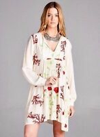 Boho bohemian Gypsy Hippie Floral Ivory mini short dress tunic Velzera - S, M, L