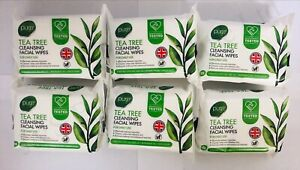 6 PACKS PURE FACIAL TEA TREE FACE CLEANSING WIPES
