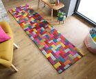 Illusion Flynn Rug Geometric Blocks Design Multi Colours Wool Runner 60 x 230 cm