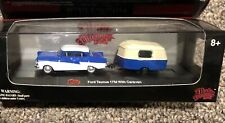 Malibu International Ford Taunus 17M w/ Caravan Blue & WHITE 1:87 HO Scale Case