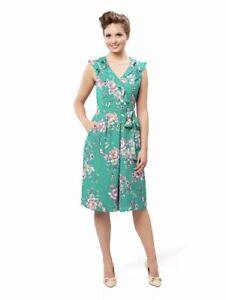 "🌱 REVIEW Sz 10 ""Elianna"" Jumpsuit Green Pink Floral Pockets"