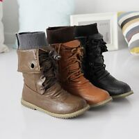 WOmens Motorcycle Round toe Hidden Heels PU Leather Lace up High Top Ankle Boots