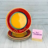 Royal Norfolk MAMBO Bright Yellow Center Red Green Stoneware Dinner Plates Set 4