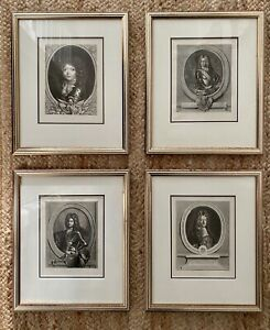 Set Four French Royal Engravings Portraits Bourbon Louis Versailles orleans