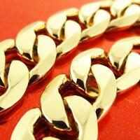 """Gold Chain Necklace Genuine Real 18 K Yellow G/F Solid Men's Heavy Curb Link 22"""""""
