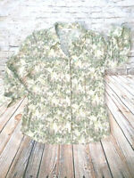 JM COLLECTION Green Blouse Shirt Top 3/4 Cuff Sleeve Button Down Women's Size 10