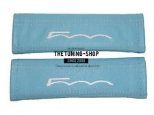 "2x Seat Belt Covers Pads Baby Blue Leather ""500"" White Embroidery for Fiat"