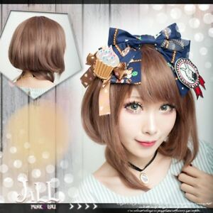 Anime lolita cosplay milk black tea copper brunette bob wig bang【JPLH097】