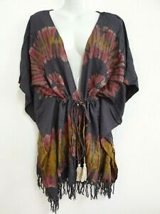 Women Tie Dye Cardigan Top Beach Cover Up Kimono Romper Tassel Kaftan Summer TDC