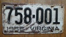 1955 Virginia License Plates Tags VA