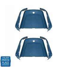 69-72 GM Cars Bucket Seat Backs & Aprons Medium Blue W/ Molded Chrome - 6pc Kit