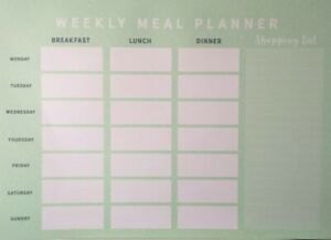 Weekly Meal Planner Pad A4 Notes To Do List Food Organiser 26 Pages Green New