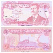 Iraq 5 Dinari 1992 P-80 di Saddam Hussein BANCONOTE UNC