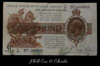Warren Fisher £1 One Pound Treasury Note S1/99 000608 Great Britain And Ireland
