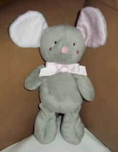 """MOTHERCARE 9"""" (23cm) GREY MOUSE PINK SPOT STRIPE EARS BABY SOFT COMFORTER VGC"""