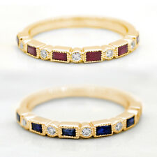 Natural Diamond Rectangular Ruby Blue Sapphire Stackable Bands 14k Yellow Gold
