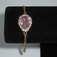 Statement Anklet Rhinestone Crystal Bright Pink Gold Tone Shiny Costume CHIC