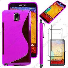 Housse Etui Coque Silicone Violet Samsung Galaxy Note 3 N9000 + Stylet + 3 Films