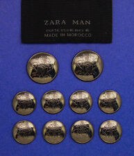 10 ZARA MAN ANODIZED EFFECT METAL BUTTONS & MATCHING POCKET PATCH GOOD USED COND