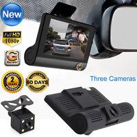 Dual Lens 4'' HD 1080P Vehicle Car Dash Cam Rear Video Camera Recorder DVR ED