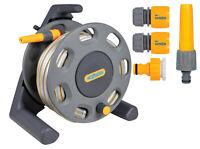 Hozelock Garden Hose Reel Pipe 25m 2412 Compact Watering - Starter Fittings Kit
