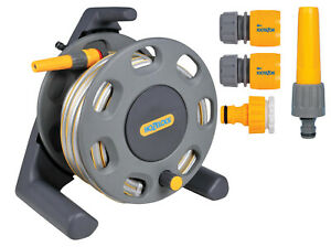 Hozelock Garden Hose Reel Pipe 25m 2412 Compact Watering - Starter Fittings Kit