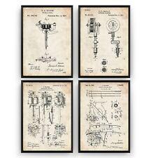 Tattoo Machine Set Of 4 Patent Prints - Studio Poster Wall Art Decor - Unframed