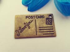 Antique Bronze Postcard Charms 12pcs Steampunk Vintage Gold Pendants Kitsch