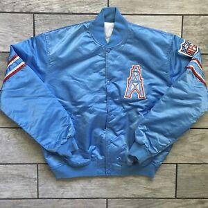 1991 Starter NFL Satin Varsity Bomber Jacket Houston Oilers Sz. L Vintage Blue