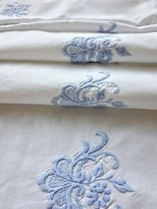Curtain Valance from Antique French White Cotton Embroidery Blue Flowers Pelmet