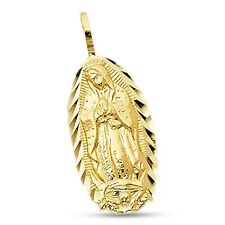 14k Yellow Gold Oval Lady Guadalupe Pendant Virgin Mary Charm Diamond Cut Solid