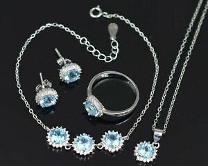 Natural Swiss Blue Topaz 925 Sterling Silver Ring Earring Necklace Bracelet Set