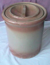 ANTIQUE pink AND white BUTTE MONTANA Lutey's BUTTER CROCK w/ lid LUTANA Red Wing