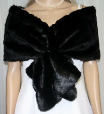 BLACK GORGEOUS SET OF TWO FAUX FUR WRAP STOLE SHAWL BOLERO BRIDAL WEDDINGNWT
