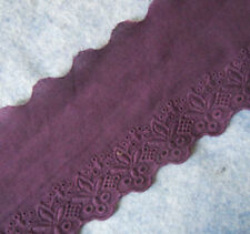 3'' Wide Vintage Eyelet Cotton Fabric wirth Embroidered Flower Lace Violet b0182