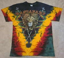 VTG Rastafari Dreaded Lion of Judah Tie Dye Shirt - Large  hippie reggae