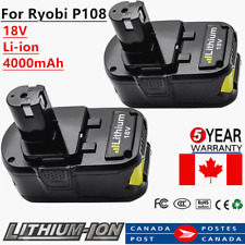 2× 4AH REPLACEMENT BATTERY FOR RYOBI ONE+ P108 P107 P105 18 VOLT LITHIUM ION 18V