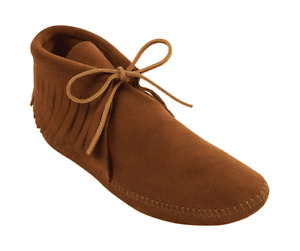 Men's Minnetonka Classic Fringed Boot Softsole Brown Suede