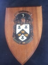 Absalom Family Crest Coat of Arms Hardwood Wooden Shield Macauley Mann Heraldry